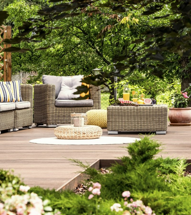 Garden furniture on wooden patio